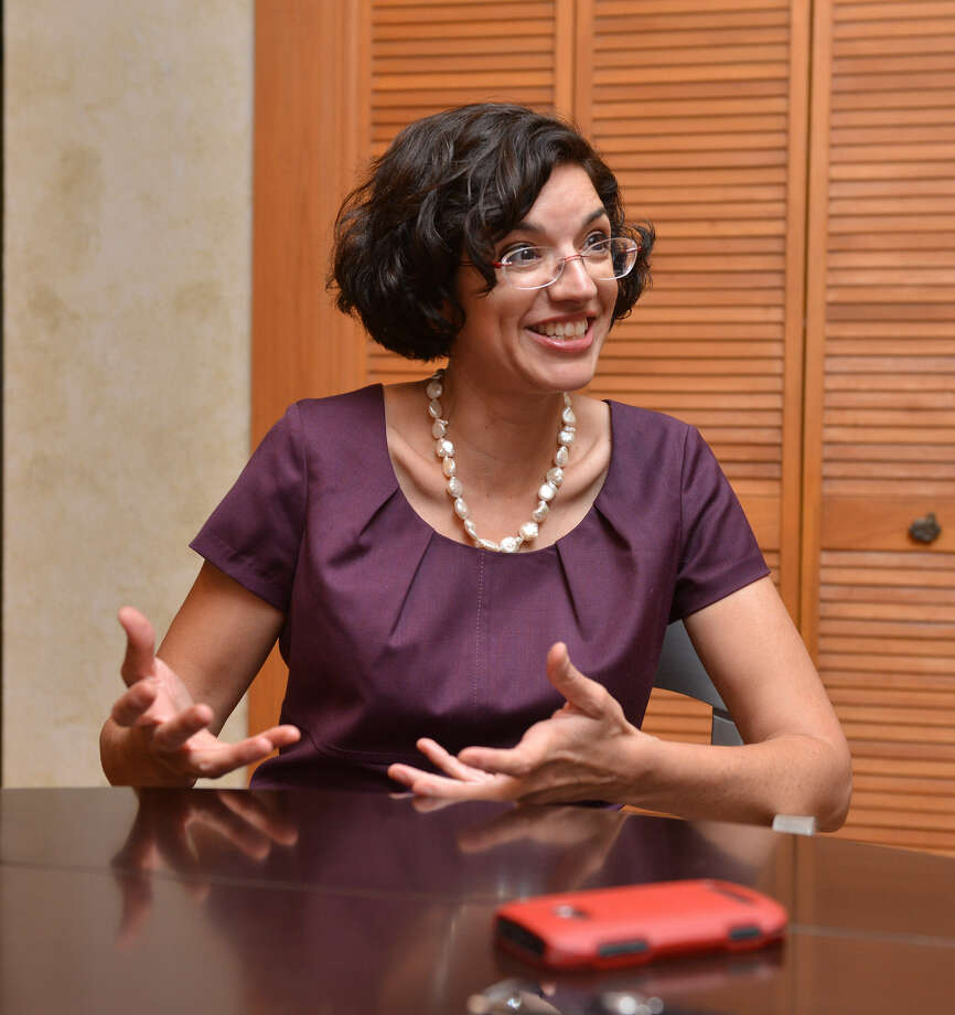 Former District 3 Councilwoman Leticia Ozuna speaks during a recent interview. Ozuna is married to Sophia Parafina, who has had sex reassignment surgery. Photo: Robin Jerstad / For The San Antonio Express-News