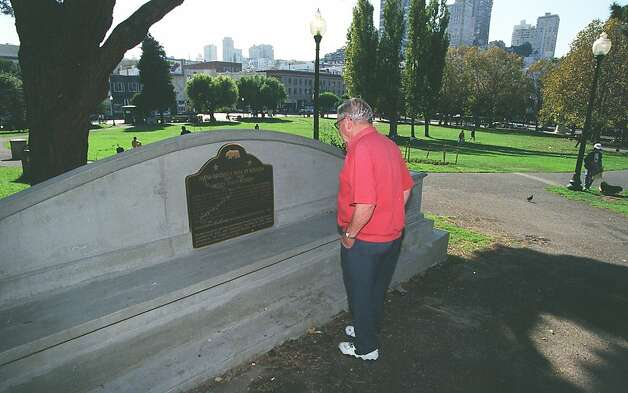 In this file photo, Lee Clardy looks at a monument for Juana Briones in Washington Square Park in San Francisco. Photo: Eric Luse, The Chronicle