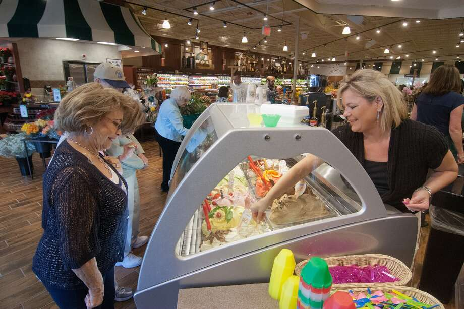 Martha Maness, 77056, and Cynthia Harrison discuss gelato samples at the new Fresh Market on San Felipe near Post Oak.  (The old Rice Epicurean space.)  Photo By R. Clayton McKee Photo: R. Clayton McKee, For The Chronicle / © R. Clayton McKee