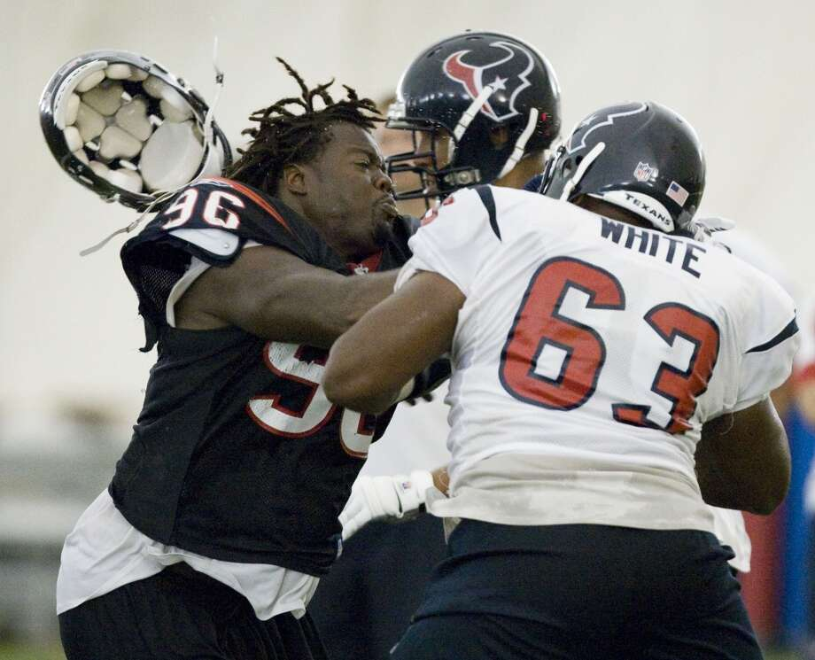 63Chris White, C, 2008-2009  Others to wear No. 63: Willie Jefferson, LB, rookie in 2013 Drew Hodgdon, C, 2005 Photo: Brett Coomer, Houston Chronicle