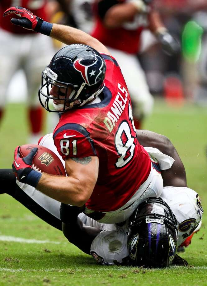 81Owen Daniels, TE, 2006-2013  Others to wear No. 81: Anthony Denham, TE, 2014 Matt Murphy, TE, 2003-2005 Atnaf Harris, WR, 2002 Photo: Nick De La Torre, Houston Chronicle
