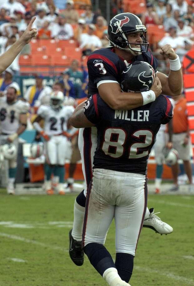 82Billy Miller, TE, 2002-2004  Others to wear No. 82:Keshawn Martin, WR, 2012-presentDerrick Mason, WR, 2011Terrence Tolliver, WR, 2011Clark Harris, LS, 2008Ben Steele, TE, 2006 Photo: Karl Stolleis, Houston Chronicle