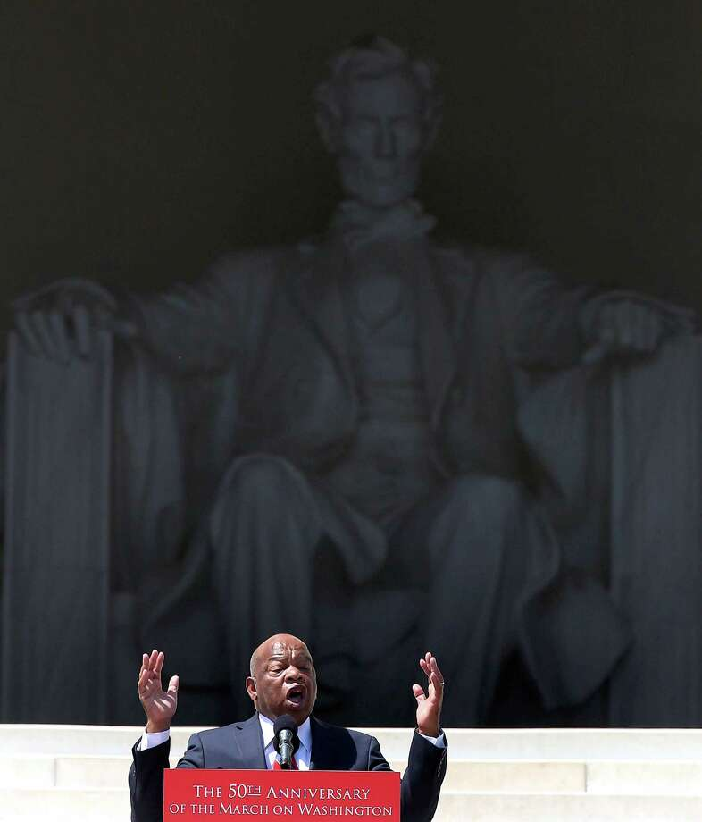 WASHINGTON, DC - AUGUST 24:  Rep. John Lewis (D-GA) speaks during the 50th anniversary of the March on Washington and Dr. Martin Luther King, Jr.'s 'I have a Dream' speech at the Lincoln Memorial on August 24, 2013 in Washington, DC. The event included a commemorative march and rally along the historic route followed on August 28, 1963 and is being led by civil rights leader Al Sharpton and Martin Luther King III, King's oldest son. Photo: Mark Wilson, Getty Images / Getty Images