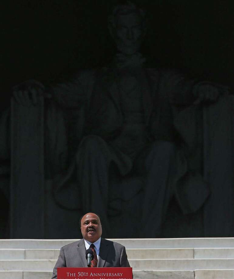 WASHINGTON, DC - AUGUST 24: Martin Luther King III speaks during the 50th anniversary of the March on Washington and Dr. Martin Luther King, Jr.'s 'I have a Dream' speech at the Lincoln Memorial on August 24, 2013 in Washington, DC. The event included a commemorative march and rally along the historic route followed on August 28, 1963 and is being led by civil rights leader Al Sharpton and Martin Luther King III, King's oldest son. Photo: Mark Wilson, Getty Images / Getty Images