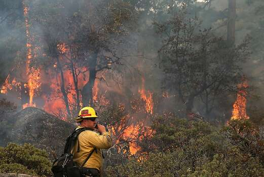 YOSEMITE NATIONAL PARK, CA - AUGUST 24:  U.S. Forest Service firefighter Chris Brossard talks on his radio while monitoring a spot fire while battling the Rim Fire on August 24, 2013 in Yosemite National Park, California. The Rim Fire continues to burn out of control and threatens 4,500 homes outside of Yosemite National Park. Over 2,000 firefighters are battling the blaze that has entered a section of Yosemite National Park and is currently 5 percent contained.  (Photo by Justin Sullivan/Getty Images) Photo: Justin Sullivan, Getty Images