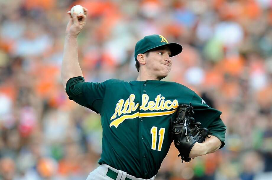 Jarrod Parker pitched eight innings and got his 10th win as the A's edged the Orioles. Photo: Greg Fiume, Getty Images