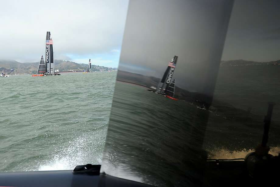 The defending champion Oracle Team USA crew practices on the bay last weekend. The sailors have had plenty of time to get ready for Team New Zealand in the finals, which begin Saturday. Photo: Michael Short, Special To The Chronicle