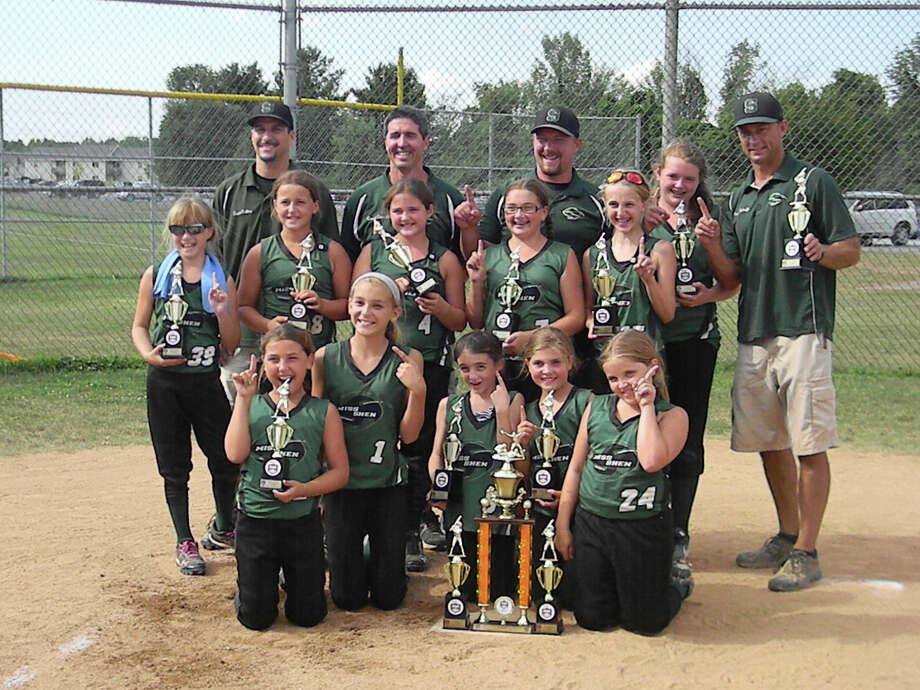 Miss Shen Fusion travel softball team includes, bottom Row:  Michelle Osborn, Michaela Schaffer, Gianna Collins, Ava Caputo and Sara Custer; Second Row: Kayla Smith, Kayla Green, Brynna Spinner, Payton Zophy, Emily Carroll and Lindsey Geary; third row: Coach Mike Collins, Coach Tim Carroll, Head Coach Greg Green and Coach Mike Schaffer.