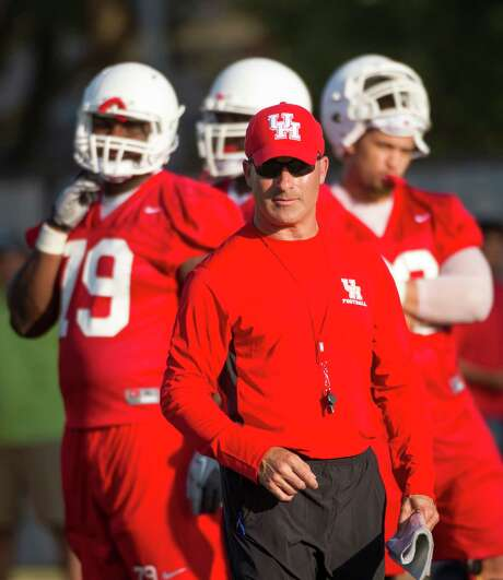 Houston coach Tony Levine will lead the Cougars into the American Athletic Conference this fall, joining SMU and other castoffs from the Big East and Conference USA. Photo: Smiley N. Pool, Houston Chronicle / © 2013  Houston Chronicle