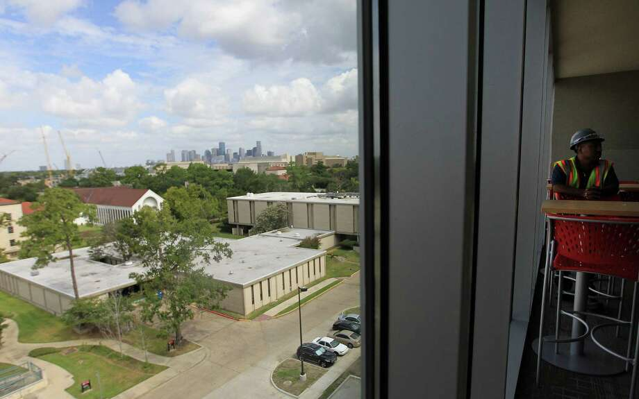 The view from the top floor common area  windows of the newly constructed Cougar Village II during a tour of the new dorms, Cougar Place and Cougar Village II.,  on the University of Houston campus, Wednesday, Aug. 14, 2013, in Houston. Photo: Karen Warren, Houston Chronicle / © 2013 Houston Chronicle