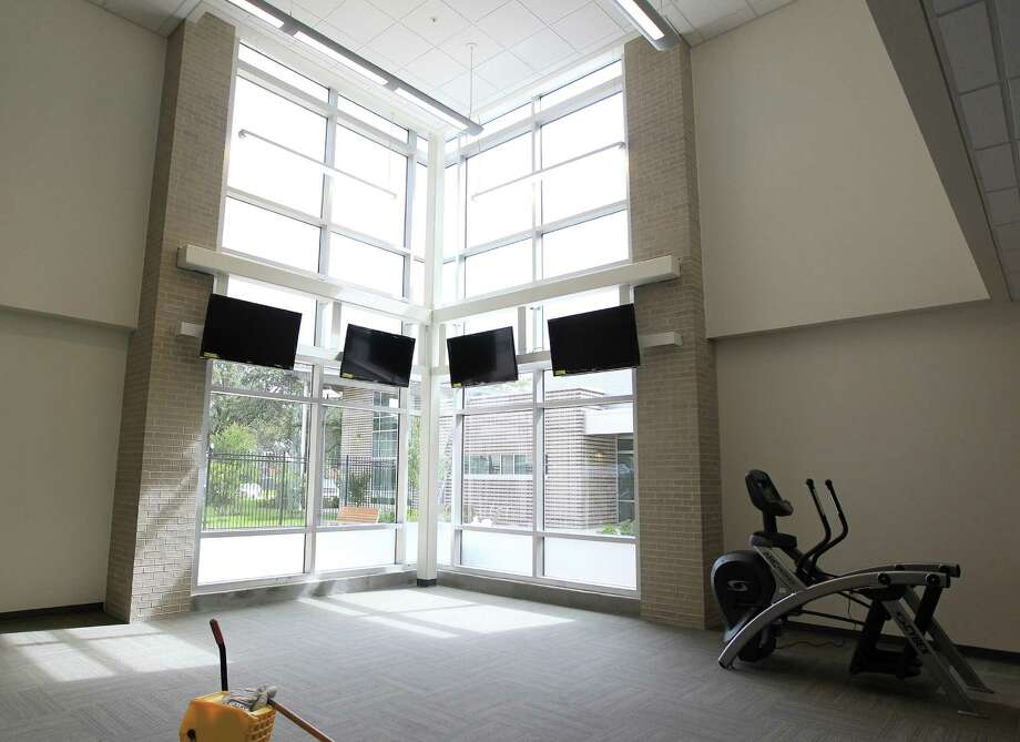 Fitness room inside of Cougar Place during a tour of the new dorms, Cougar Place and Cougar Village II.,  on the University of Houston campus, Wednesday, Aug. 14, 2013, in Houston. Photo: Karen Warren, Houston Chronicle / © 2013 Houston Chronicle