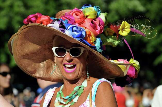 Thoroughbred owner Margie Rotchford of Saratoga Springs wears a colorful chapeau in the paddock on Travers Day on Saturday, Aug. 24, 2013, at Saratoga Race Course in Saratoga Springs, N.Y. (Cindy Schultz / Times Union) Photo: Cindy Schultz / 00023621A