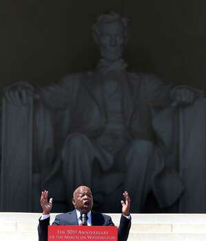 Rep. John Lewis (D-GA) speaks during the 50th anniversary of the March on Washington and Dr. Martin Luther King, Jr.'s 'I have a Dream' speech at the Lincoln Memorial on August 24, 2013 in Washington, DC. The event included a commemorative march and rally along the historic route followed on August 28, 1963 and is being led by civil rights leader Al Sharpton and Martin Luther King III, King's oldest son. Photo: Mark Wilson, Getty Images / 2013 Getty Images