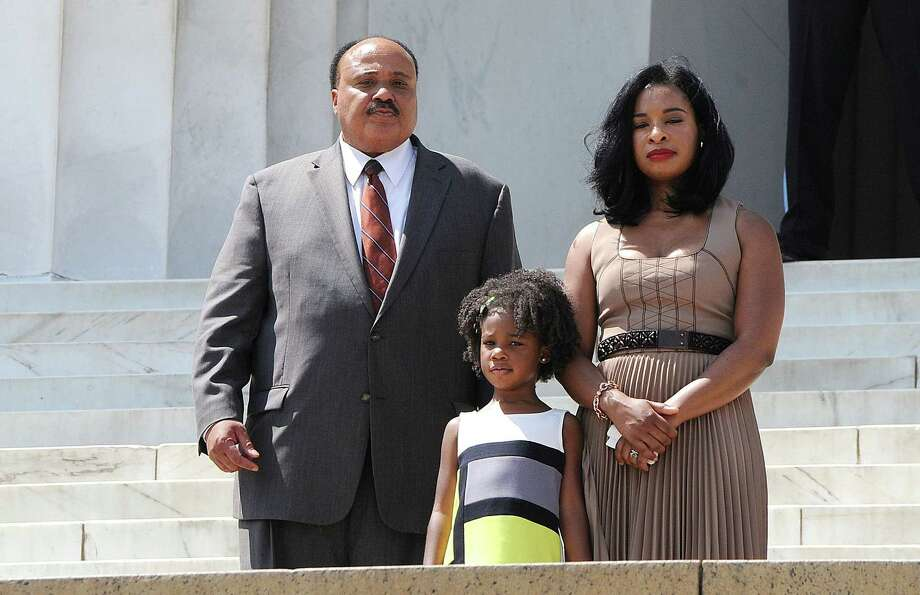 Civil rights leader Martin Luther King III, the eldest son of Dr. Martin Luther King Jr., stands with his family on the steps of the Lincoln Memorial during the celebration of the 50th anniversary of the March on Washington in Washington, D.C., Saturday, August 24, 2013. Photo: Olivier Douliery, McClatchy-Tribune News Service / Abaca Press