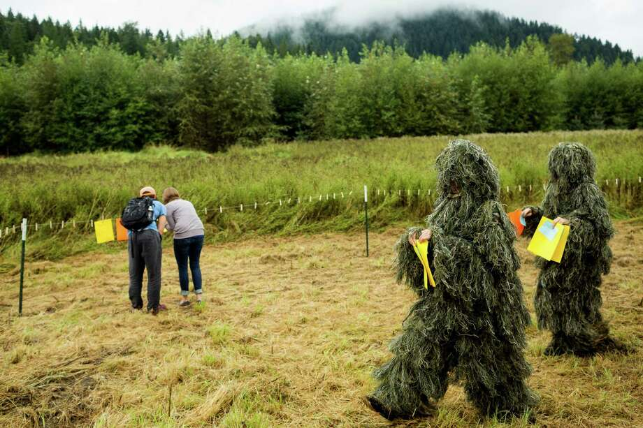 "Performers in ghillie suits prepare to hang written pieces typed out on typewriters at the seventh annual Lo-Fi Festival Saturday, August 24, 2013, at The Smoke Farm in Arlington. This year's theme was ""Must Be Present to Win!"" Photo: JORDAN STEAD, SEATTLEPI.COM / SEATTLEPI.COM"
