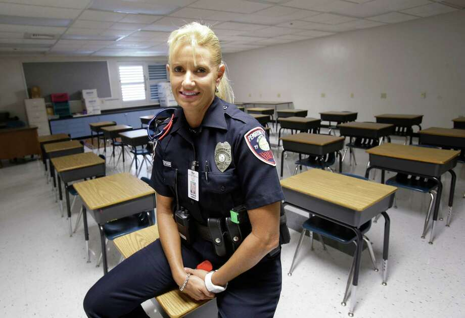 Dara Van Antwerp, the school resource officer at Panther Run Elementary School in Pembroke Pines, Fla., also teaches a Gang Resistance And Drug Education program at the school. Photo: Wilfredo Lee, STF / AP