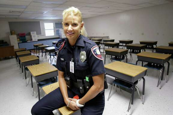 Dara Van Antwerp, the school resource officer at Panther Run Elementary School in Pembroke Pines, Fla., also teaches a Gang Resistance And Drug Education program at the school.