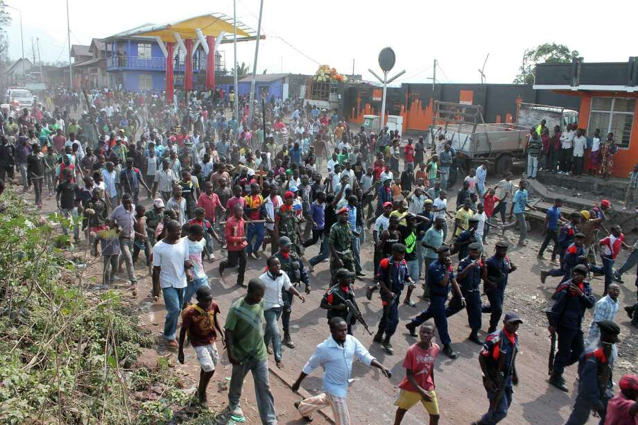 Residents march in protest over recent violence in Goma on Saturday, skirmishes that have increased border tension between Congo and Rwanda. Photo: Alain Wandimoyi / Associated Press
