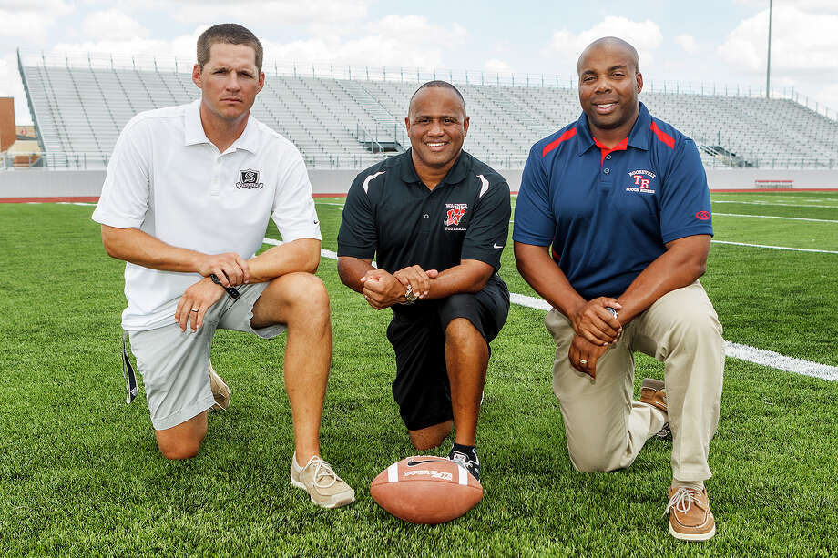 Steele's Scott Lehnhoff (from left), Wagner's Charles Bruce and Roosevelt's Matt Carroll, all new area head football coaches, at Rutledge Stadium on Monday, Aug. 12, 2013. Photo: MARVIN PFEIFFER, Marvin Pfeiffer / Prime Time New / Prime Time Newspapers 2013