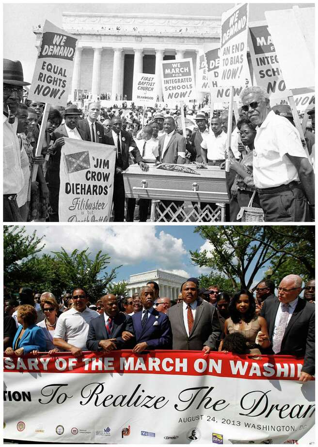 TOP: Demonstrators stop for a photo at the Lincoln Memorial during the Aug. 28, 1963, March on Washington.                    BOTTOM: The Rev. Al Sharpton (center), arm-in-arm with Rep. John Lewis, D-Ga., lines up with Martin Luther King III and Andrea King (third and second from right) and House Minority Leader Nancy Pelosi (second from left) after a rally at the Lincoln Memorial on Saturday. Photo: Associated Press Photos