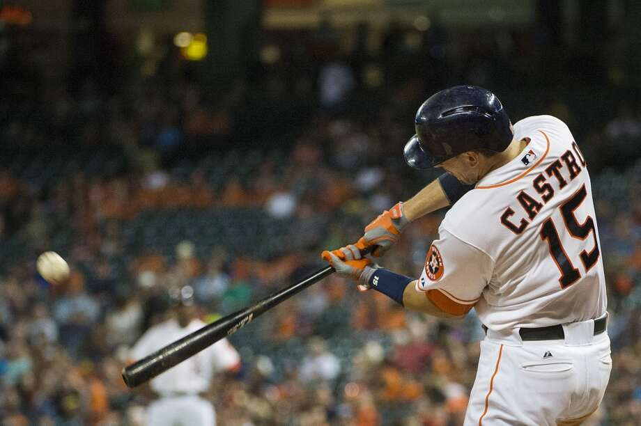 Astros catcher Jason Castro hits one of his two home runs. Photo: Smiley N. Pool, Houston Chronicle