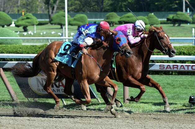 Sweet Lulu with jockey Julien Leparoux out duels Wildcat Lily to win the 88th running of The Test Stakes Aug 24, 2013, at the Saratoga Race Course in Saratoga Springs, N.Y. (Skip Dickstein/Times Union) Photo: SKIP DICKSTEIN