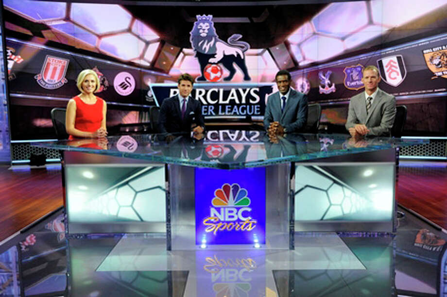 "The NBC Sports Network's ""Premier League LIve"" studio team of, from left to right, host Rebecca Lowe, Westport native Kyle Martino, Robbie Earle and Robbie Mustoe. Photo: NBC Sports/Contributed Photo"