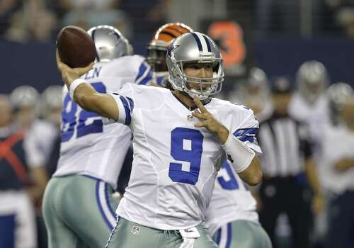 Dallas Cowboys quarterback Tony Romo (9) passes during the first half of a preseason NFL football game against the Cincinnati Bengals, Saturday, Aug. 24, 2013, in Arlington, Texas. (AP Photo/LM Otero) Photo: Associated Press