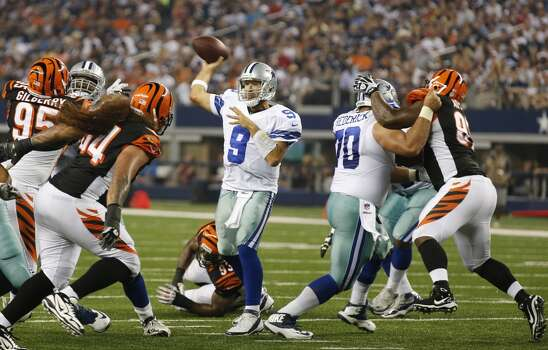 Dallas Cowboys quarterback Tony Romo (9) passes from the pocket during the first half of a preseason NFL football game against the Cincinnati Bengals , Saturday, Aug. 24, 2013, in Arlington, Texas. (AP Photo/Sharon Ellman) Photo: Associated Press