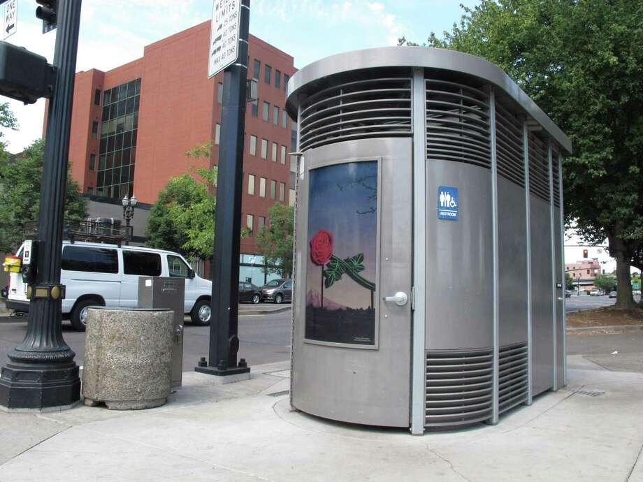 This photo taken Wednesday, Aug. 21, 2013 in Portland, Ore., shows the Portland Loo, a distinctive public restroom designed to deter vandalism and misuse. The City of Portland is suing a Southern Oregon that markets a similar public restroom, alleging copyright infringement. Photo: AP