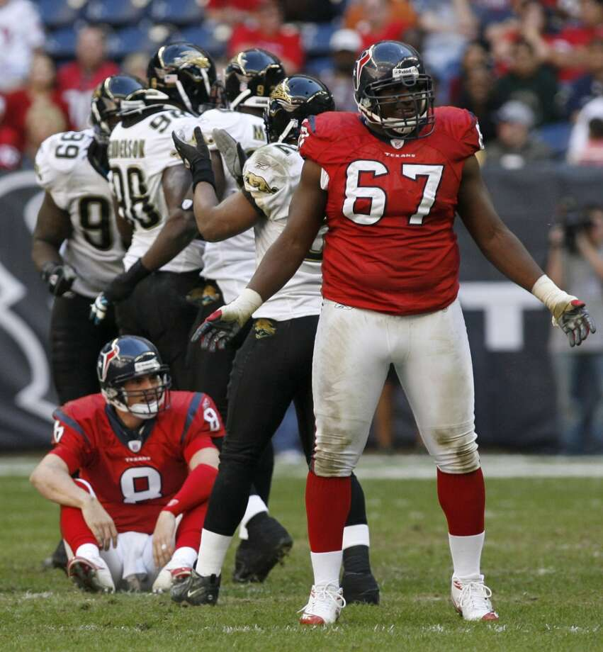 67  Milford Brown, G, 2002-2005  Others to wear No. 67:  Cody White, G, 2012-present Malcolm Sheppard, DT, 2010 Photo: KAREN WARREN, HOUSTON CHRONICLE