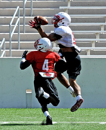 Wide receiver Reggie Begelton, #9, jumps for a catch during the Lamar University football scrimmage