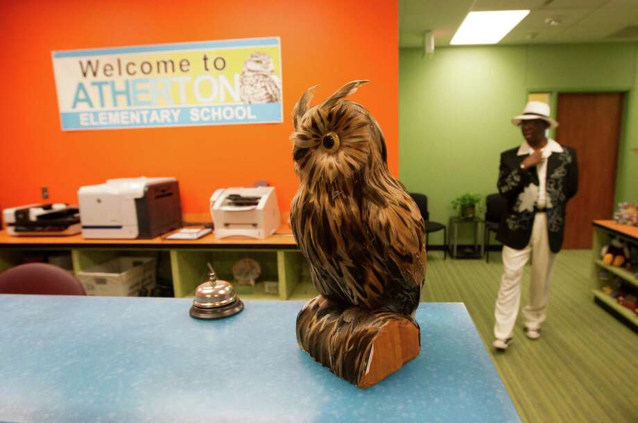 An owl, the school mascot, sits in the office of Atherton Elementary School on Wednesday, Aug. 21, 2013, in Houston. Photo: J. Patric Schneider, For The Chronicle / © 2013 Houston Chronicle