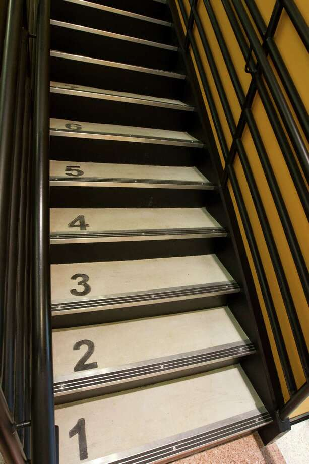 The stairs are numbered for easy learning at Atherton Elementary School. Photo: J. Patric Schneider, For The Chronicle / © 2013 Houston Chronicle
