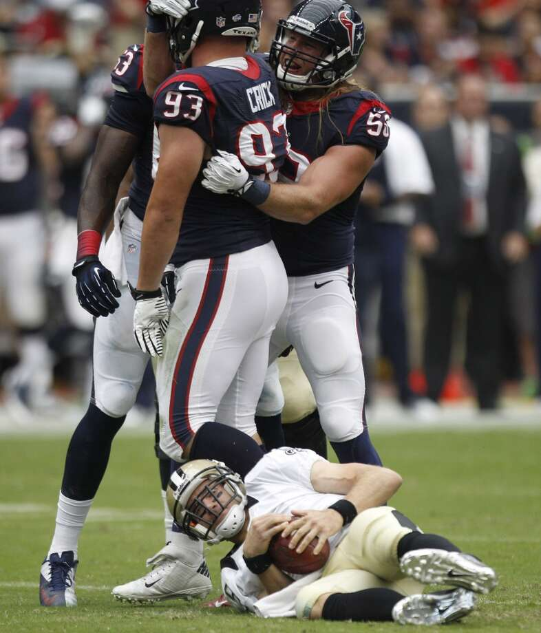 Texans defensive end Jared Crick celebrates after sacking Saints quarterback Drew Brees. Photo: Brett Coomer, Houston Chronicle