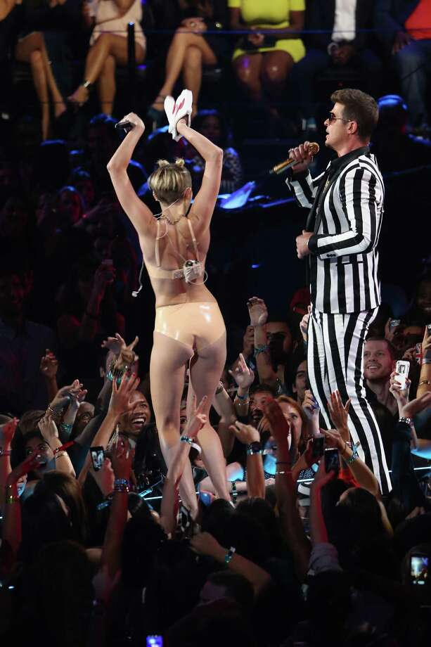 Miley Cyrus performs onstage during the 2013 MTV Video Music Awards at 