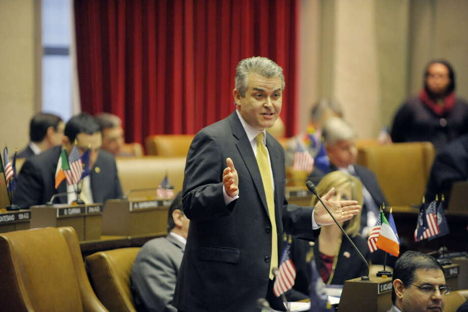Assemblyman Steve McLaughlin rises to speak out against the gun bill on the floor of the Assembly during debate on the bill on Tuesday, Jan. 15, 2013 in Albany, NY.  (Paul Buckowski / Times Union) Photo: Paul Buckowski / 00020771A