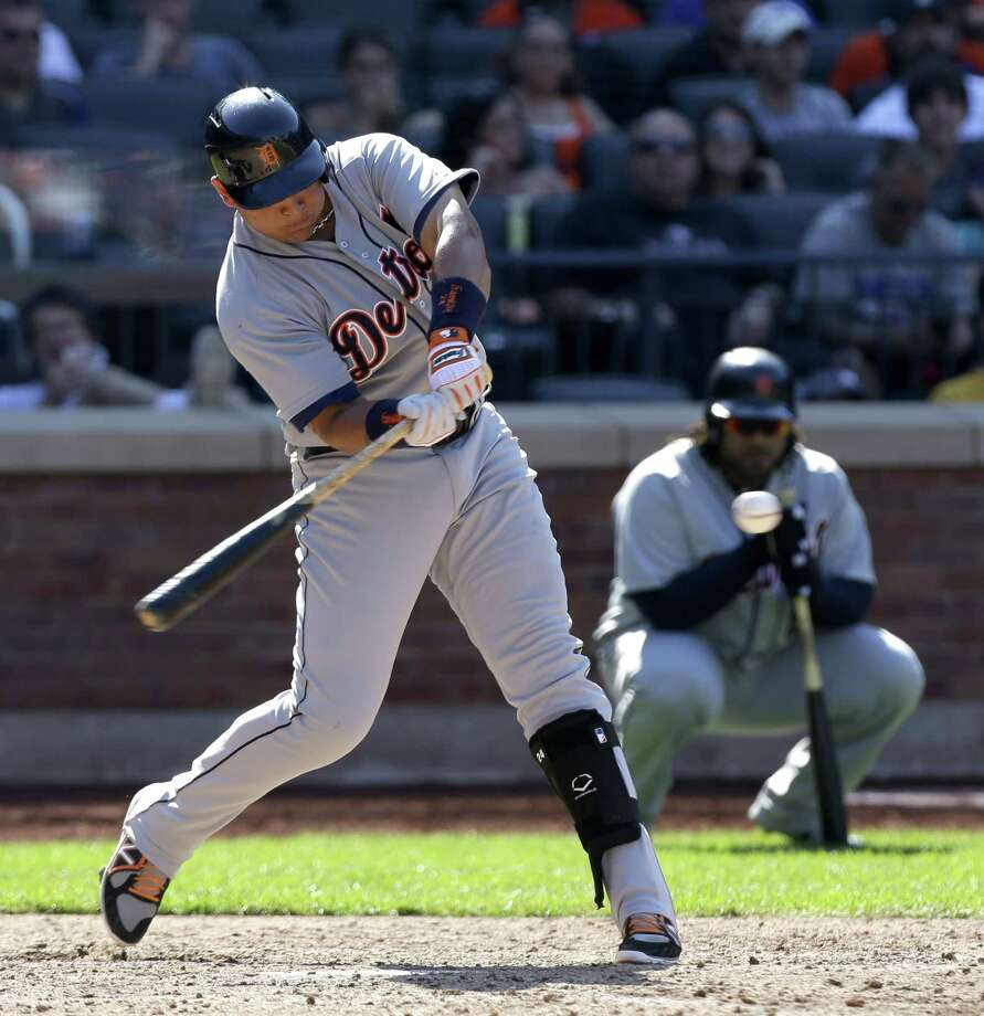 Detroit Tigers' Miguel Cabrera singles during the ninth inning of an interleague baseball game against the New York Mets at Citi Field, Sunday, Aug. 25, 2013 in New York. The Tigers beat the Mets 11-3. (AP Photo/Seth Wenig) ORG XMIT: NYM113 Photo: Seth Wenig / AP