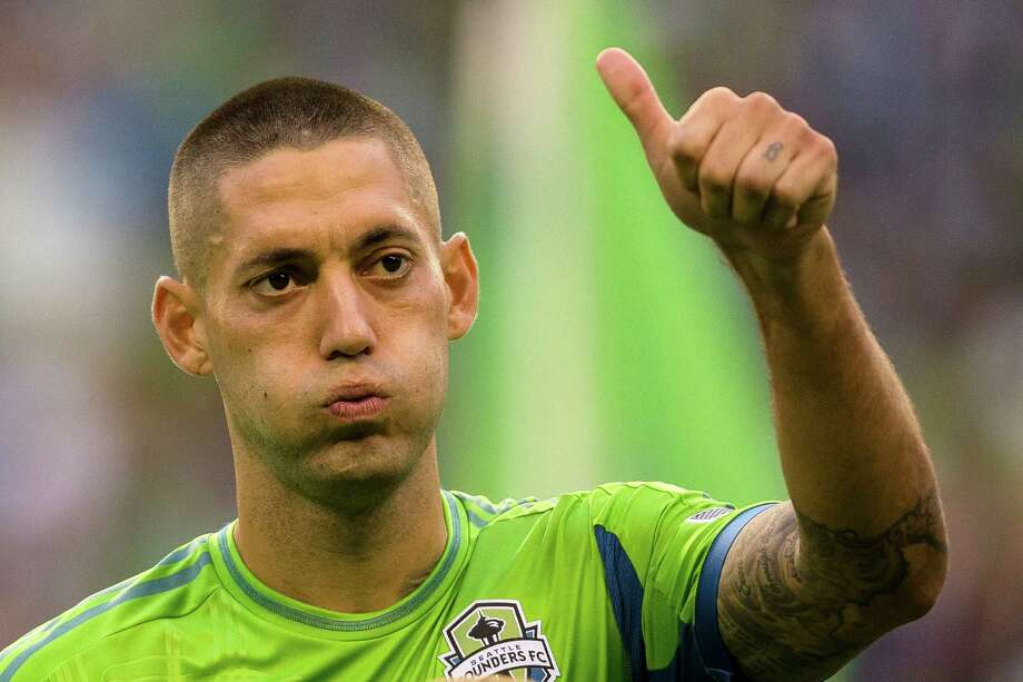 Clint Dempsey gives a thumbs up to the crowd during the first half of the Cascadia Cup match Sunday, August 25, 2013, at CenturyLink Field in Seattle. The sold-out match marked Clint Dempsey's first home game as a member of the Seattle Sounders FC. Photo: JORDAN STEAD, SEATTLEPI.COM / SEATTLEPI.COM