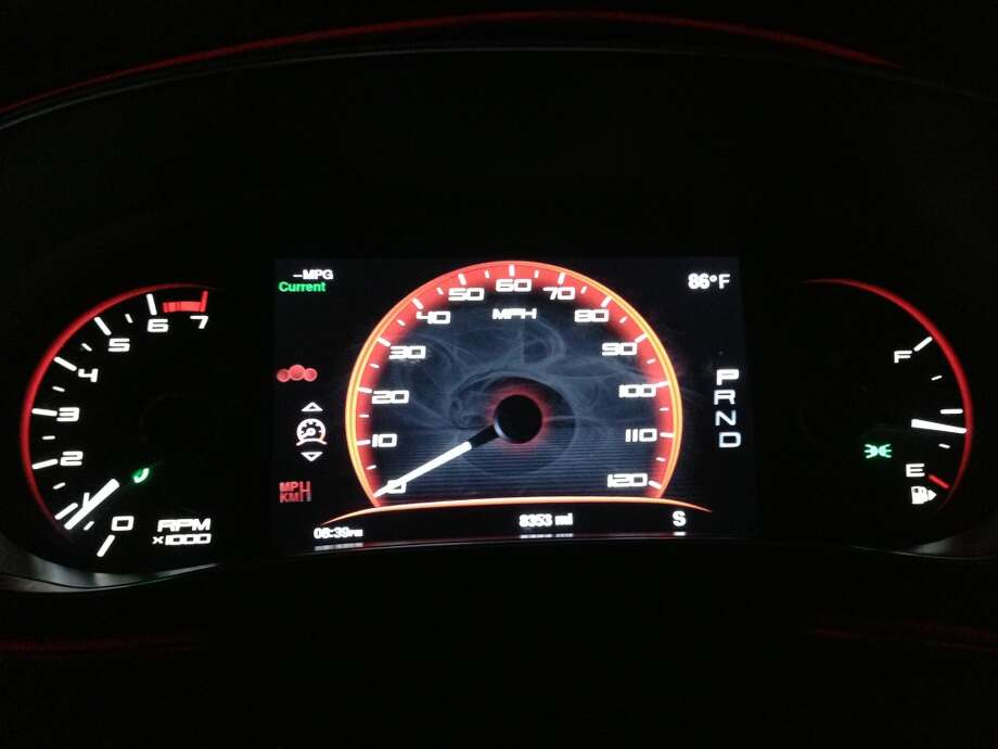 Analog speedometer view. Photo: Dwight Silverman, Houston Chronicle