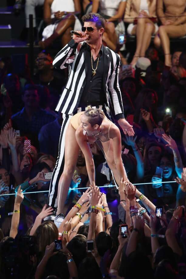And then she was joined by Robin Thicke. Yuck. Photo: Neilson Barnard, Getty Images For MTV