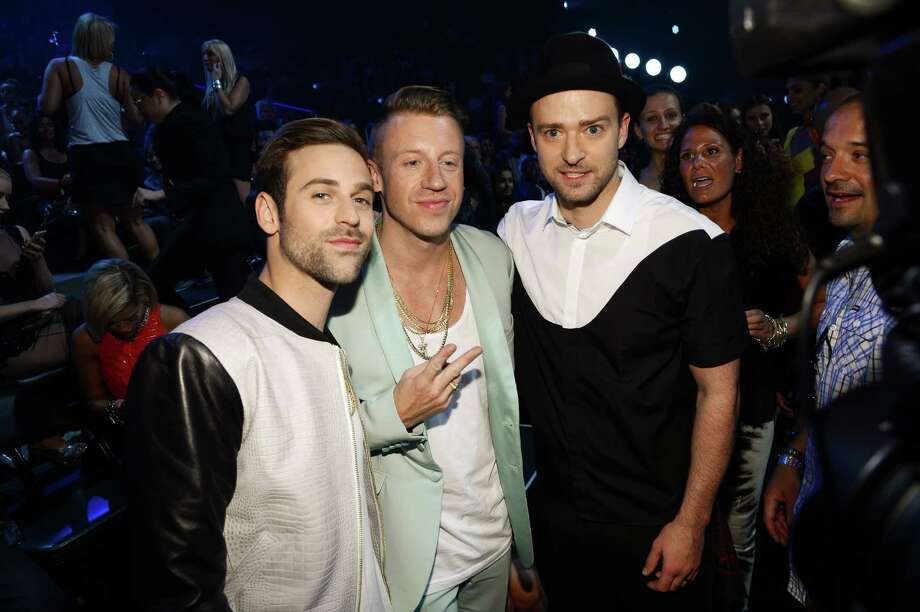 Ryan Lewis, Macklemore and Justin Timberlake attend the 2013 MTV Video Music Awards. Photo: Larry Busacca, Getty / 2013 Getty Images