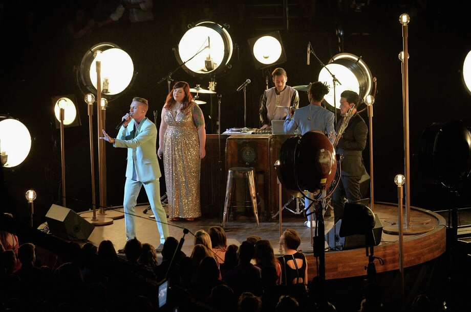 "Macklemore, Mary Lambert and Ryan Lewis perform ""Same Love."" Photo: Rick Diamond, Getty / 2013 Getty Images"