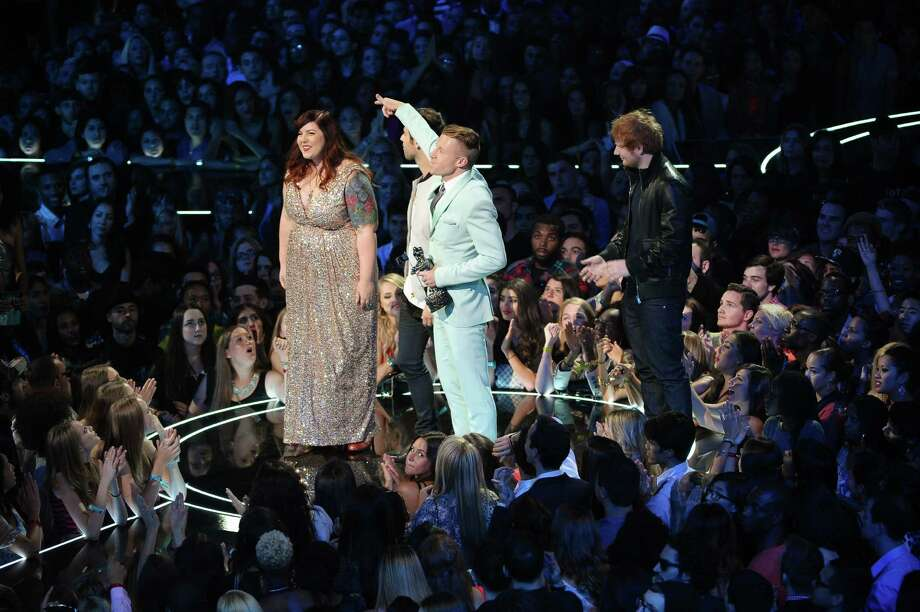 Mary Lambert, Macklemore, Ryan Lewis, and Ed Sheeran onstage during the 2013 MTV Video Music Awards.   Photo: Michael Loccisano, Getty / 2013 FilmMagic