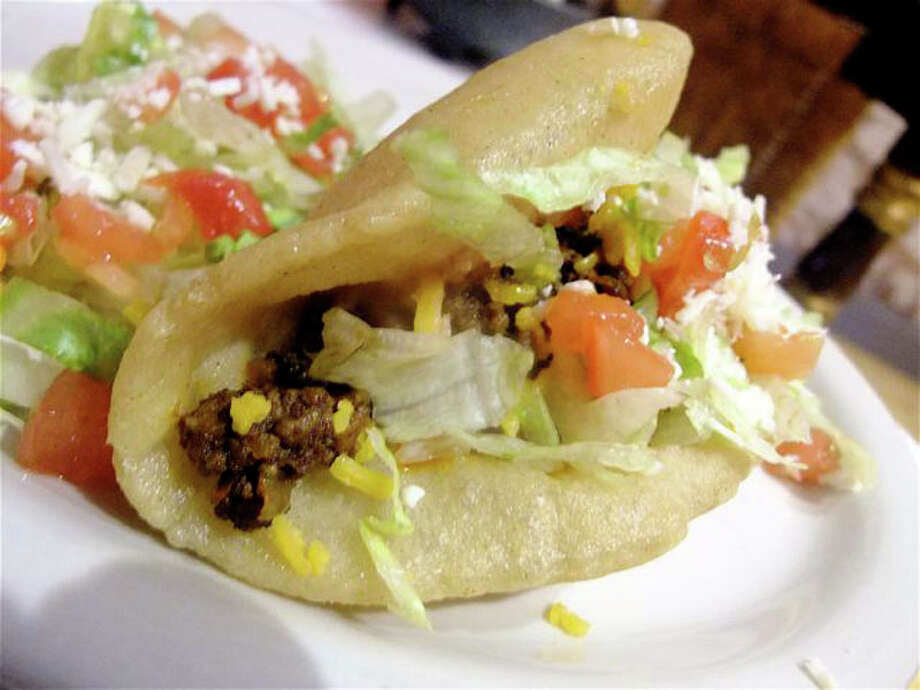Puffy taco with picadillo at El Real. Photo: Alison Cook, Houston Chronicle / DirectToArchive