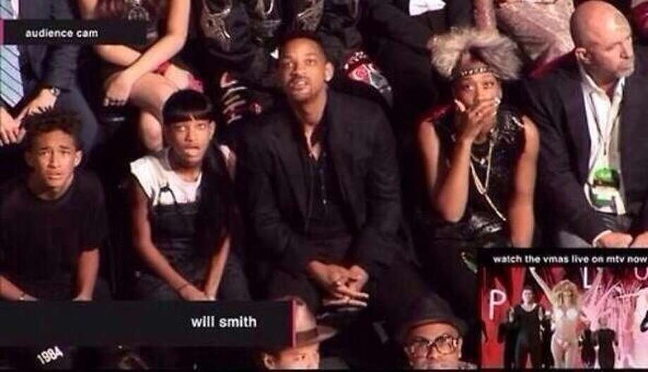 Here's Will Smith's family's reaction to Miley performance. It's similar to the rest of America's reaction. Photo: MTV