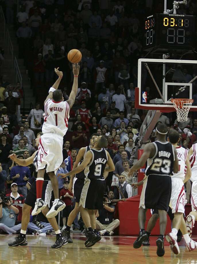 McGrady is responsible for one of the most improbable comebacks in NBA history, when he single-handedly brought the Rockets back to beat the Spurs on December 9, 2004. His barrage of three pointers (and one four point play) will remain in Houstonians' hearts forever. Photo: JAMES NIELSEN, HOUSTON CHRONICLE