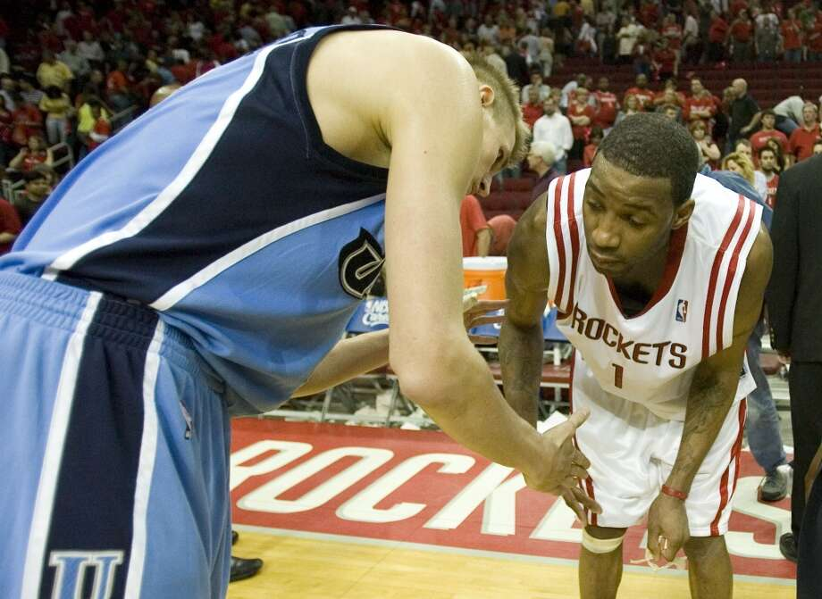 2006-07 seasonMcGrady helped lead the Rockets to the fifth best record in the league while averaging 24.6 points, 6.5 assists, and 5.3 rebounds. The Rockets were eliminated in the first round of the playoffs by the Jazz in seven games. Photo: Smiley N. Pool, HOUSTON CHRONICLE