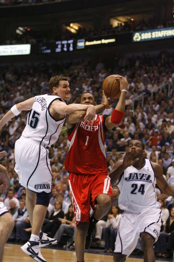 2007-08 seasonMcGrady helped the Rockets win a franchise-record 22 straight games during the regular season, but was nursing shoulder and knee injuries by the time the playoffs came along. The Rockets drew a rematch with the Jazz and were eliminated once again in the sixth game of the first round despite McGrady's 40 points and 10 rebounds. Photo: James Nielsen, Houston Chronicle