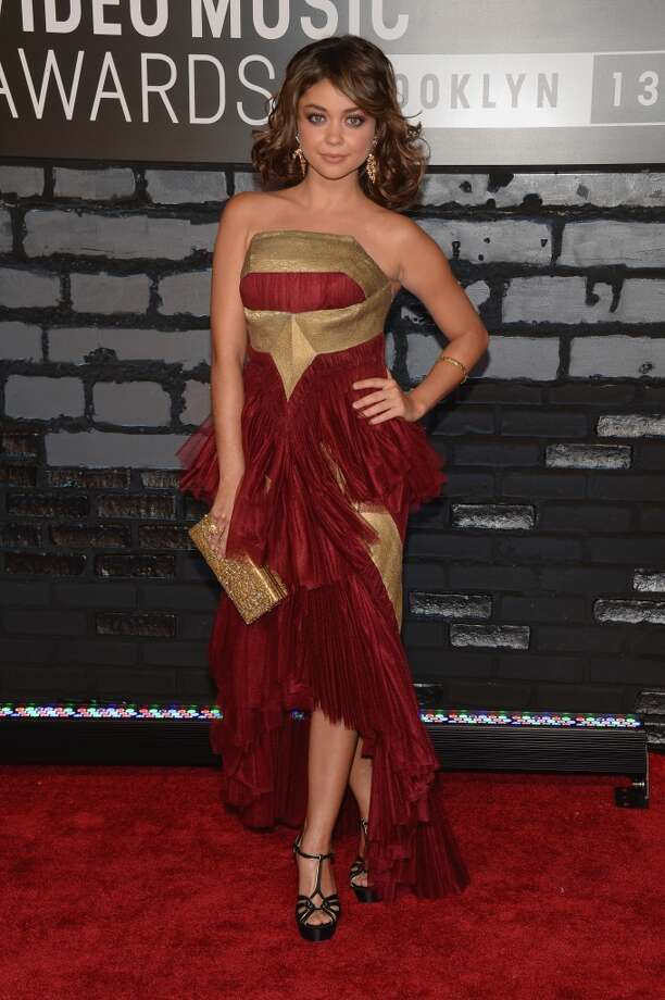 Sarah Hyland has managed to turn the Iron Man armor into a dress. Photo: Jamie McCarthy, Getty Images For MTV